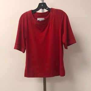 George Simonton Tops - Simonton Says Red Embellished Short Sleeve Blouse